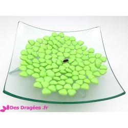 Dragées chocolat mini-coeur vert pistache, déclassées