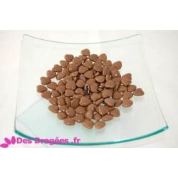 Dragées chocolat mini-coeur taupe, 1er choix