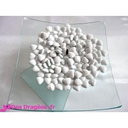 Dragées chocolat mini-coeur blanc, déclassées