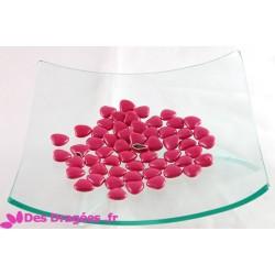 Dragées chocolat mini-coeur fuchsia, déclassées