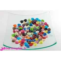 Dragées chocolat mini-coeur multicolore, déclassées