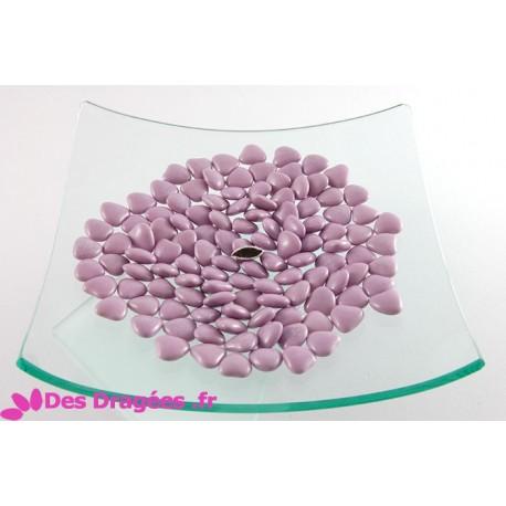 Dragées chocolat mini-coeur lilas, déclassées