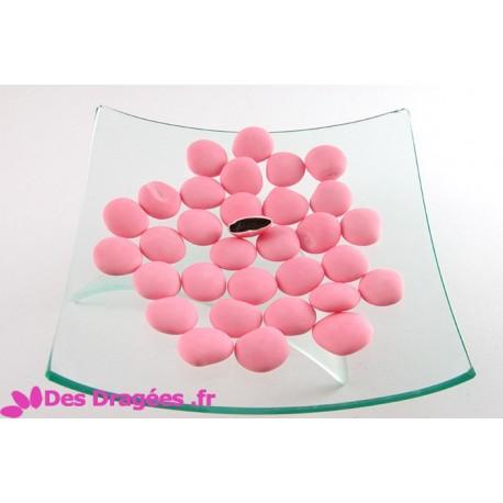 Dragées chocolat palet rose mat, déclassées