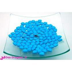 Dragées chocolat mini-coeur turquoise, déclassées
