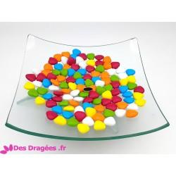Dragées chocolat mini-coeur multicolore, 1er choix