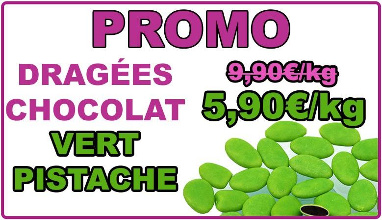 Promo : dragées chocolat vert pistache, déclassées