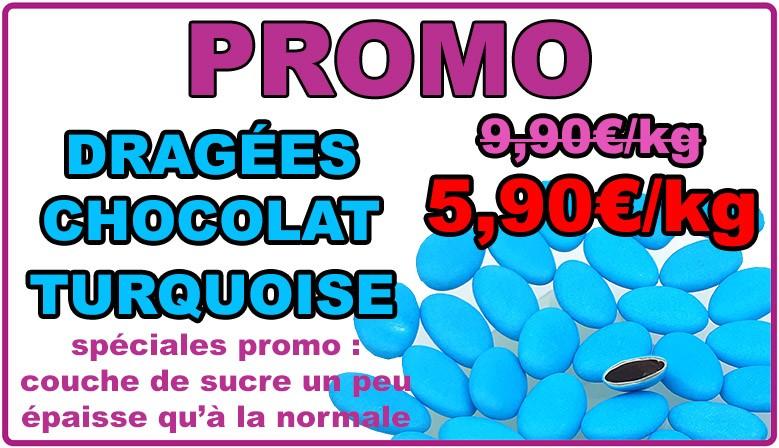 Promo : dragées chocolat turquoise, déclassées