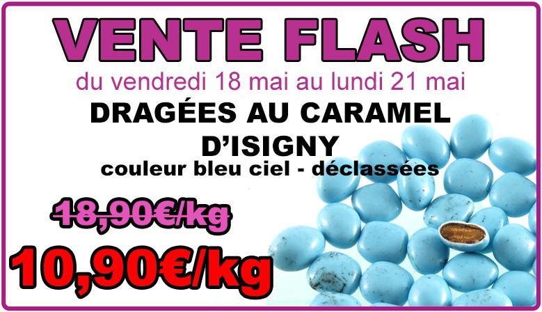 Vente flash ce weekend : dragées au caramel d'Isigny, bleu ciel