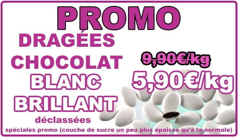Promo : dragées chocolat blanc brillant, déclassées