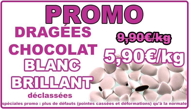 Promo : dragées chocolat - blanc brillant, déclassées