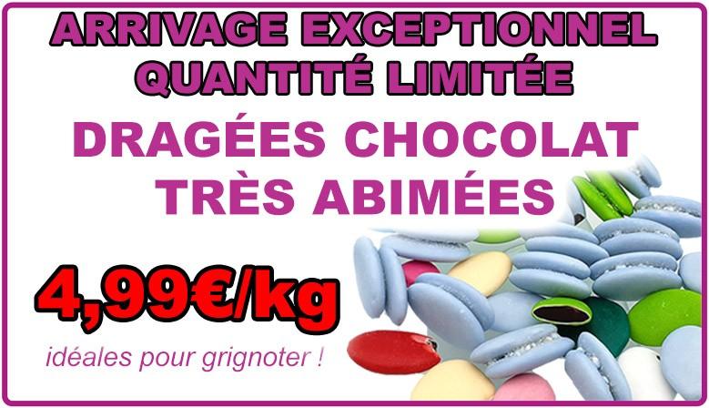 Dragées au chocolat très abîmées