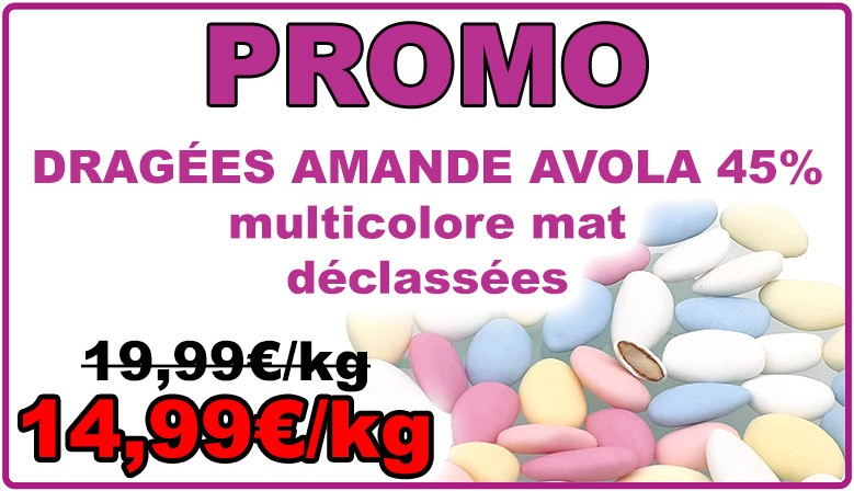Dragées amande Avola, multicolore mat