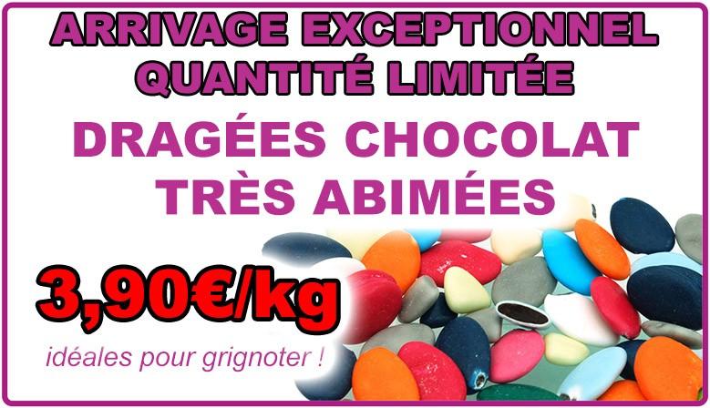 Dragées chocolat très abîmées