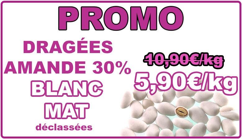 Promo : dragées amande 30% blanc mat, déclassées