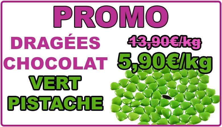 Promo : dragées chocolat mini-coeur vert pistache, déclassées
