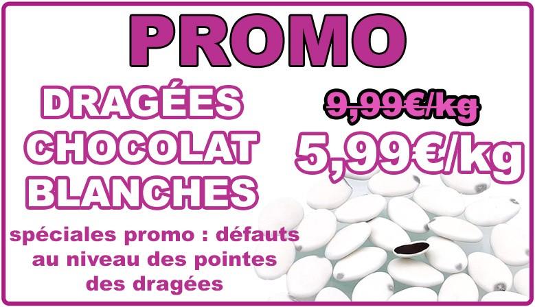 Promo : dragées au chocolat blanches, déclassées