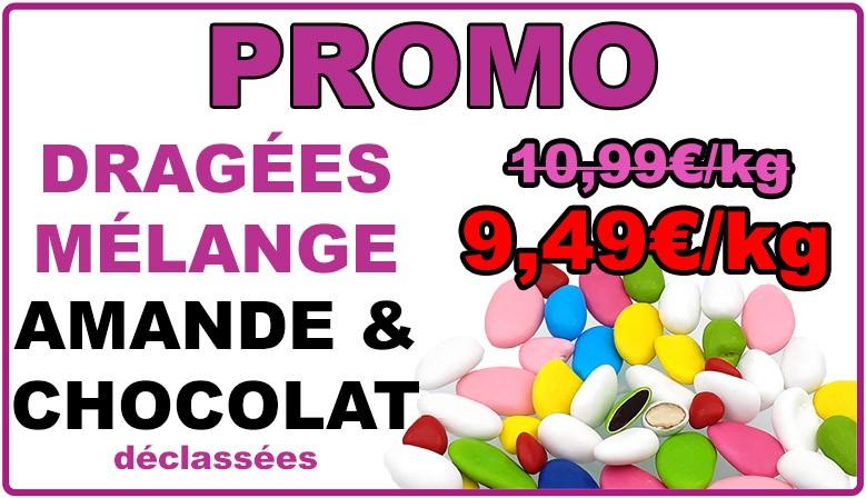 Promo : dragées mélange amande et chocolat multicolore, déclassées