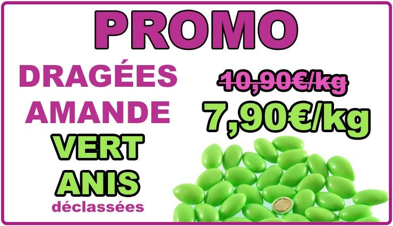 Promo : dragées amande vert anis, déclassées